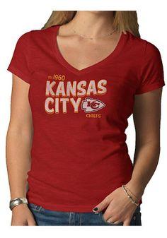 47 KC Chiefs Womens Red V-neck Scrum V-Neck Kansas City Chiefs 710072148