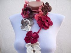 Strand Necklace Scarf Crochet Lariat Scarf Flower by scarfnurlu