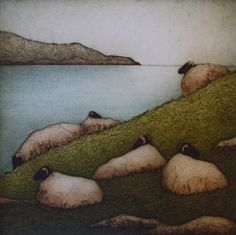 KATHLEEN BUCHANAN, Collagraph Printmaker Each of her prints is a limited edition of usually prints each and most images require a separate plate per color. Kathleen visited the gallery in J Collagraph, American Crafts, Flocking, Art Images, Printmaking, Jewelry Art, Anglesey, Sheep, Cool Art