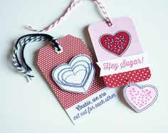 Valentine's Day Tags. Stamps used: Hey Sugar