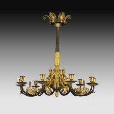 Empire chandelier Antique Light Fixtures, Empire Chandelier, Buffet Lamps, Empire Style, Sculpture, Objet D'art, Chandeliers, Sconces, Candle Holders