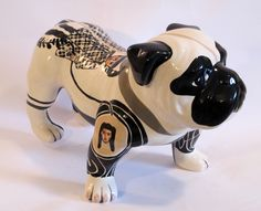 "black and white - dog - ""Bull"" - ceramic - Evelyn Tannus"