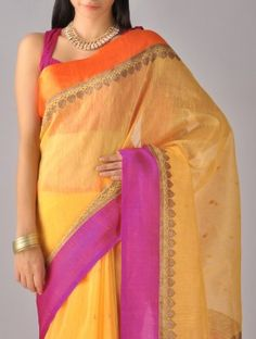 Yellow-Pink Kora Silk Saree <3 Bespoke Banaras
