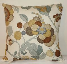 SALE One Floral Pillow Cover Tan Brown & Gray Blue by HomeLiving