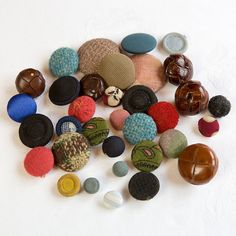 Vintage fabric and leather Buttons by SoVintageUK on Etsy