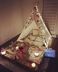 Romantic Room Surprise, Romantic Date Night Ideas, Romantic Dates, Tent Decorations, Diwali Decorations, Birthday Decorations, Diy Teepee, Teepee Party, Fun Sleepover Ideas