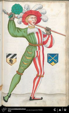 Nürnberger Schembart-Buch Erscheinungsjahr: 16XX Cod. ms. KB 395 Folio 176 Medieval Costume, Medieval Art, Clowns, Landsknecht, 15th Century, Character Design Inspiration, Renaissance, Costumes, History