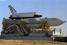 Soviet space shuttle Buran on horizontal transporter.