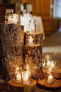candles on pieces of wood for rustic country wedding decor. Wedding Trends, Fall Wedding, Dream Wedding, Wedding Ideas, Wedding Rustic, Trendy Wedding, Wedding Reception, Wedding Table, Wedding Venues
