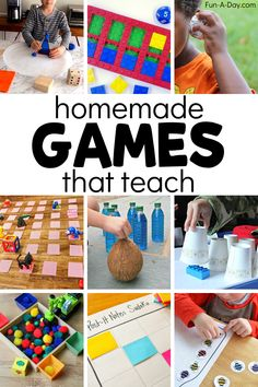 Try one of these awesome homemade games! There's games for both indoor and outdoor, and all are easy enough that kids can help make them. Best of all, there's a learning component to each one! Art Games For Kids, Educational Games For Kids, Indoor Activities For Kids, Infant Activities, Early Learning, Learning Activities, Preschool Centers, Kindergarten Activities, Math Games