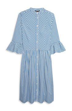 Primark - Blue White Gingham Bell Sleeve Dress