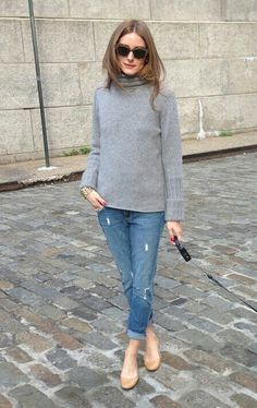 Olivia Palermo in grey turtle-neck pullover with rolled ripped denim pants…                                                                                                                                                                                 もっと見る