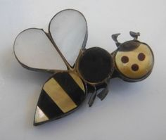 "ZUNI Bumble Bee Brooch Pendant Sterling Silver Multi-Stone Inlay Signed ""AA"""