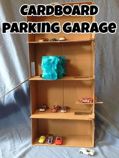 How to make a car parking garage from cardboard, with a working elevator!