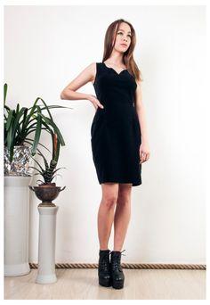 6211a1f4d6d Black velvet dress 90s vintage slim fit classy mini dress