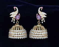 24k Gold Plated ethnic Jhumki in peacock design with CZ stones & ruby