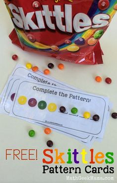 Community Helpers Preschool Discover Creating Patterns With Skittles {FREE Printable!} I love these simple and free Skittles Pattern Cards! This is a great way for kids to work on recognizing patterns! Math Patterns, Color Patterns, Teaching Patterns, Kindergarten Readiness, Patterning Kindergarten, Kindergarten Lesson Plans, Math Concepts, Toddler Learning, Kindergarten Classroom