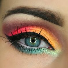 This look is a fabulous combination of bright tropical eyeshadow. Take this night out makeup for a spin with the products listed here.