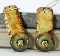 Painted Faux Bone and Lampwork Earrings by Arts on the Vine, via Flickr