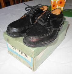 6a39f5f2d7 Vintage 1950 s Boys Black Leather Oxford SHOES Tie Oxfords ~ Size 8.5E ~  Rockabilly Swing