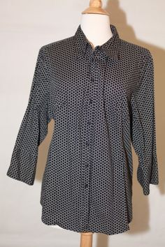 CATO Womens 18 / 20W Polka Dot 3/4 Sleeve Black Button Up Dress Shirt Top Blouse #Cato #Blouse #Casual