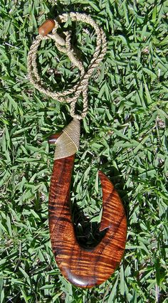 Koa Fish Hook Necklace Hand carved by OneMountainCreations, $95.00