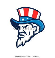 Mascot icon illustration of head of Uncle Sam wearing a top hat with USA American stars and stripes viewed from side on isolated background in retro style. Retro Style, Retro Fashion, Disney Characters, Fictional Characters, Royalty Free Stock Photos, Editorial, Stripes, Wrestling, Hat