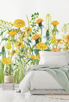 Looking to treat yourself to a boho bedroom? Check out this beautiful yellow floral wall mural from Wallsauce! With fresh yellows and summery greens, this floral wallpaper is sure to engulf your space boho design.