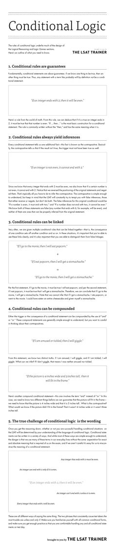 LSAT Trainer Conditional Logic Infographic Image