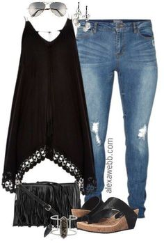 Plus Size Black Boho Outfit - Plus Size Fashion for Women - alexawebb.com