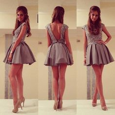 Sexy Open Back Satin A-line Beading Gray Short Mini Prom Dresses, Homecoming Dresses for girls,Cocktail Dress