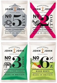 Modern Examples of Vintage Style Graphic Design John John Crisps Packaging by Peter Schmidt Group. More vintage inspired design. The bold color graphic accent and numbers are the most interesting. The small illustration is not as effective in my opinion. Chips Packaging, Packaging Box, Print Packaging, Retro Packaging, Packaging Snack, Coffee Packaging, Product Packaging, Web Design, Label Design
