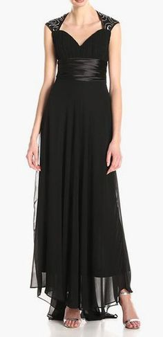 Chiffon Sexy V-Neck Ruffles Empire Line Evening Dress