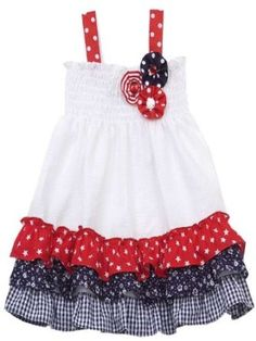 Rare Editions Girls 4th of July Red White Blue Ice Cream Outfit 12M 18M New