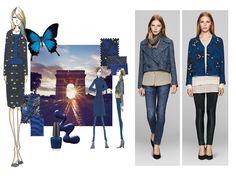 Blau in Kombination mit Schwarz, so geheimnisvoll wie die Zeit zwischen Sonnenuntergang und nächtlicher Dunkelheit. Spannende Schatteneffekte inspirieren dieses Kollektionsthema - lassen Sie sich verzaubern von Elégance Paris!