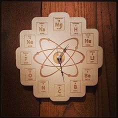Wood Periodic Table Clock - Baltic Birch Plywood from mini-Fab. Saved to mini-Fab Gifts. Breaking Bad, Chemistry Classroom, Teaching Chemistry, Maths, Science Room, Science Education, Health Education, Physical Education, Cool Clocks