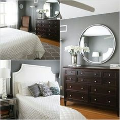 Good pictures with this article. I like almost all the looks. Benjamin moore amherst gray and kendall charcoal are the best dark gray paint colours. Shown here in bedroom with wood flooring and dark furniture. Might look good with our cherry furniture.