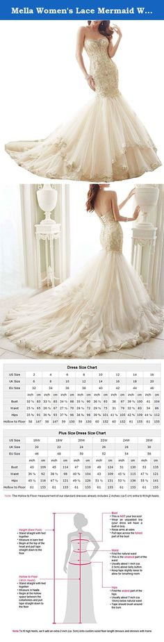 Mella Women's Lace Mermaid Wedding Dresses for Bride 2017 Strapless Lace Up Wedding Dress Ivory-Custom Size. Mella Women's Lace Mermaid Wedding Dresses for Bride 2017 Strapless Lace Up Wedding Dress Ivory-Custom Size FREE SUPER GIFT: 30$ worth of long tulle bridal veils with lace appliques, up to 9 ft (approximately 3m), Same Lace pattern as that of the wedding dress shown in picture. Perfect match for the brides. Standard Size Option: Choose the size from the dropdown menu according to…
