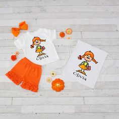 Time for School in Orange - 4pc Personalized Shirt, Short and Bag Set