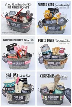 A whole bunch of gift basket ideas + free printables! #christmas #giftbasket #printables