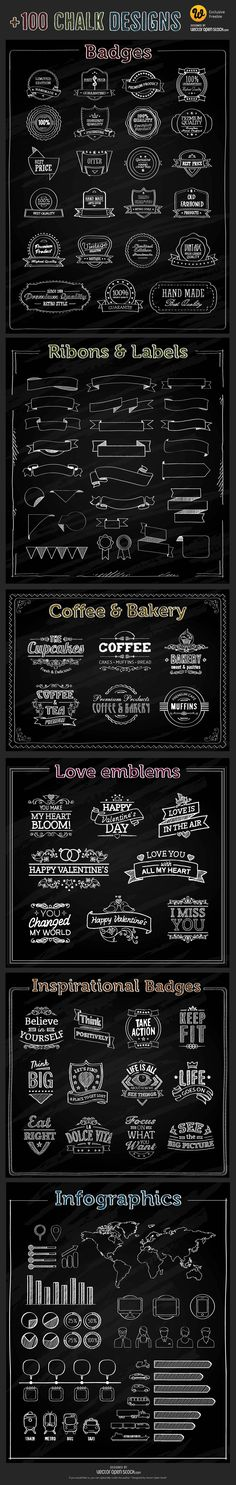 Freebie : 100+ Chalk Vector Elements (badges, ribbons, labels, infographic elements etc.)