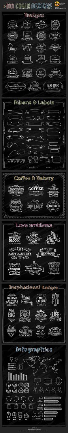 Freebie : 100+ Chalk Vector Elements (badges, ribbons, labels, infographic elements etc.)