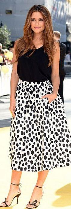 Maria Menounos: Skirt – Kate Spade  Shoes – Jimmy Chooo  Shirt – Frenchi  Necklace – Jet Set Candy