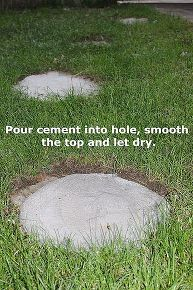 a quicker and easier way to stepping stones, concrete masonry, outdoor living, Pour cement into hole smooth the top and let dry