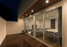 CASE602 WOODボックスハウス Terrace, Conference Room, Divider, Wood, Interior, Modern, Table, House, Furniture