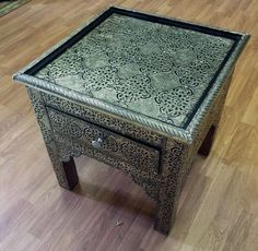 Moroccan Accent Table in Carved Embossed Silvered Metal over Wood & Glass Top #Handmade #Moroccan