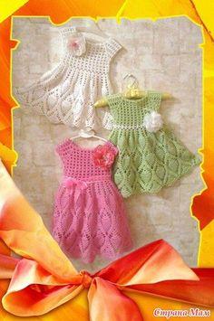 Elegant dresses for girls.  Three dresses - one scheme.  Crochet