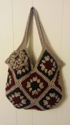 """#Crochet 13 square granny square Handbag Purse #TUTORIAL [   """"Free PatternI used to make the pink and black purse: 13 square granny square Handbag Purse Supernatural Style"""" ] #<br/> # #Women"""