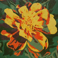 This is a color reduction original linocut print | In the color reduction process, one block is inked and carved many times to produce the image. Seven colors were used for 'Marigold' | Lisa VanMeter