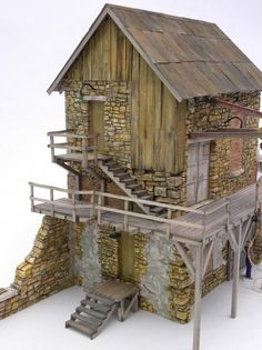 O scale Stone Building - Scratch Building